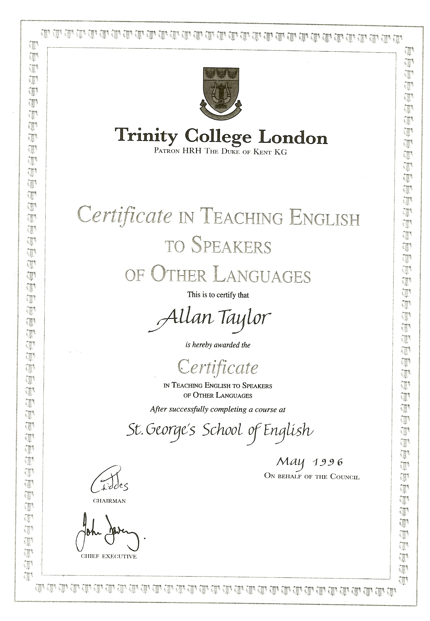 trinity certificate in tesol essay Trinity diploma in tesol  two years experience after taking the trinity college certificate in tesol or the celta or other  writing essays .
